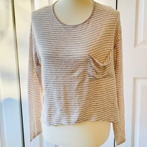NWT Living Doll Gray and White Striped T Shirt XL